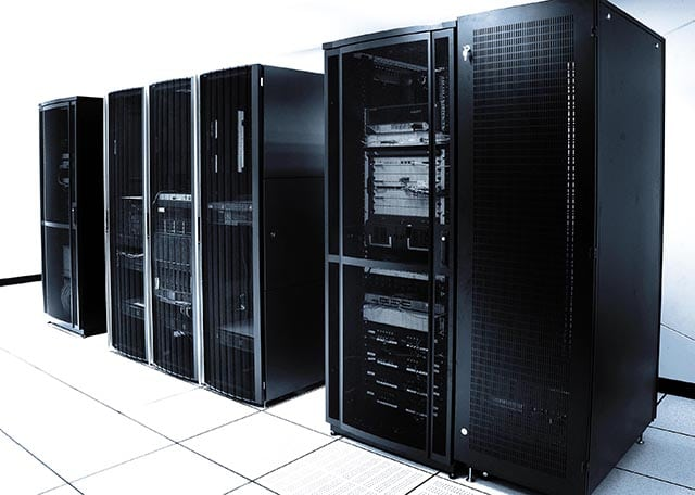 Large racks of servers and routers